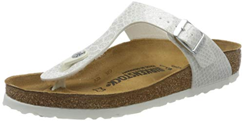 BIRKENSTOCK Damen Gizeh Zehentrenner, Weiß (Noir Magic Snake White Noir Magic Snake White), 37 EU