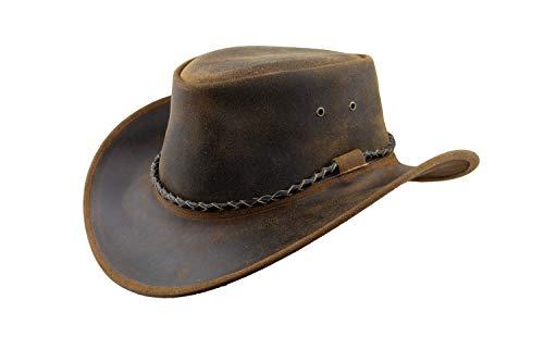 Black Jungle Kimbolton leren hoed, westernse hoed, Australische hoed, cowboyhoed