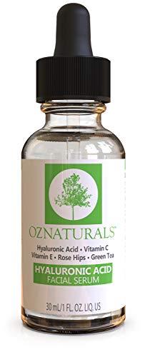 OZNaturals Anti-Aging-Serum mit Hyaluronsäure – Antifalten-Serum mit natürlicher Hyaluronsäure und Vitamin C polstert die Haut auf, versorgt sie mit Feuchtigkeit-Standard