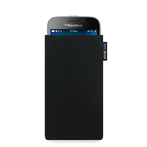 Adore June Classic Schwarz Tasche für BlackBerry Classic Handytasche aus beständigem Cordura Stoff   Robustes Zubehör mit Bildschirm Reinigungs-Effekt   Made in Europe