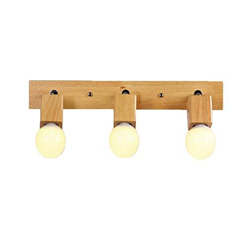 Lámpara Lámpara de pared LED Norte de Europa Hogar Simple Moderno Aplique de pared de madera Luz de cabeza Sala de estar Dormitorio Dormitorio Pasillo de noche Baño Lámpara de pared E27 * 3. 1