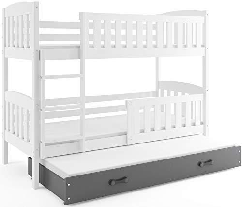 Interbeds Etagenbett QUBA fur DREI Kinder 200x90cm Farbe: WEIß; mit Lattenroste und Matratzen (weiß + graue Schublade)