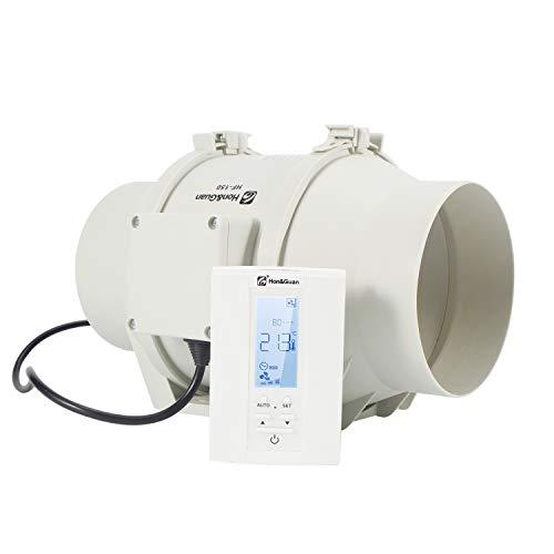 Hon&Guan Rohrventilator - Abluftventilator Badlüfter mit Hygrostat und Timer, Intelligenter Controller mit Drei Geschwindigkeitssteuerung (ø150mm)