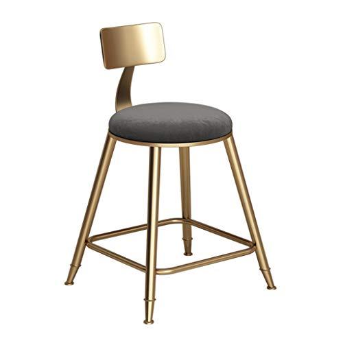 Tabouret de Bar Tabouret De Bar Chaise De Cuisine Tabouret Café Restaurant Chaise Haute en Fer Forgé Dossier Design - Coussin Gris (Hauteur De L'assise: 45-85CM) (Taille : 45cm)