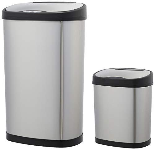 AmazonBasics Lot de poubelles automatiques en acier inoxydable, 12 et 50 litres