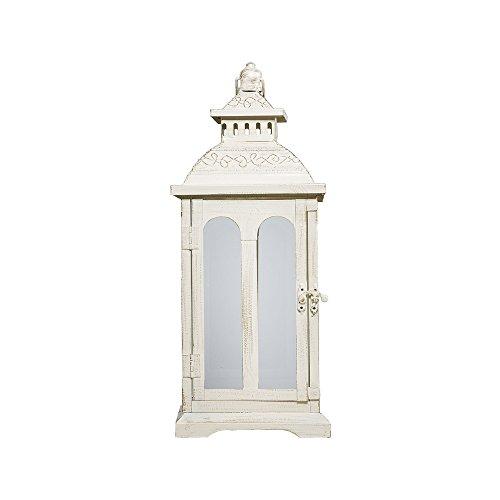 Laterne Country Creme weiß aus Metall mit Rundbogenfenstern H59cm - Gross