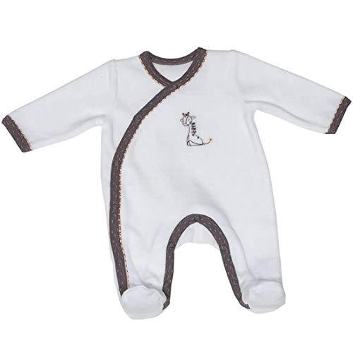 Pyjama bébé blanc girafe 3 mois Kenza - Sauthon
