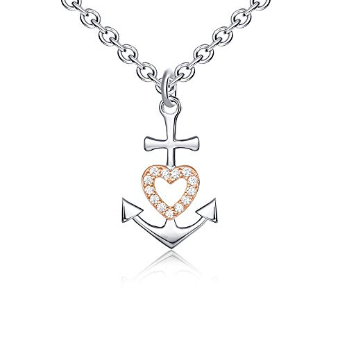 Faith Hope Love Rose Gold 925 Sterling Silver Cubic Zirconia Small Cute Cross Heart Anchor Pendant Necklace for Women Girls Friend Mom Nurse Sailor Navy Ship Sea Jewelry Gifts Friendship Mothers Day Valentines Day Birthday Graduation Present