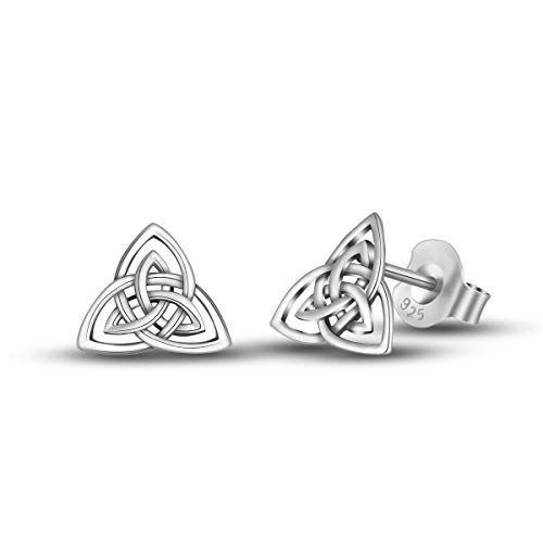 INFUSEU Irish Celtic Trinity Knot Triquetra Stud Earrings 925 Sterling Silver Double Triangles Tiny Ear Studs for Women Girls