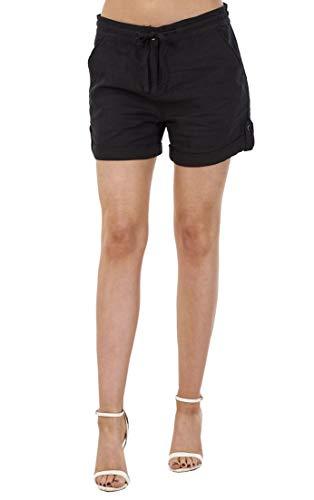 Ex High Street Shorts Casual da Donna - con Tasche e Coulisse - Misto Lino - Nero - 48
