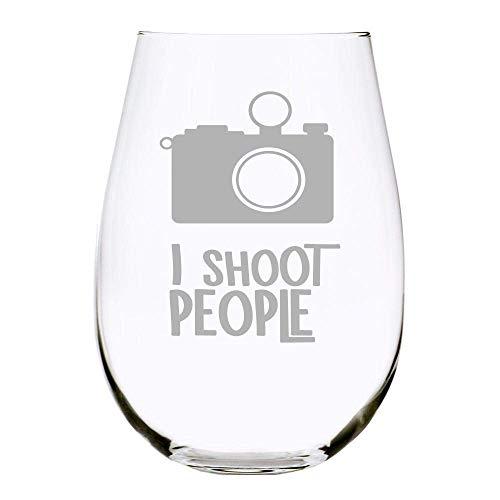 C M I Shoot People Stemless Wine Glass, 17 oz.