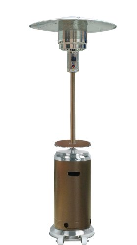 "AZ Patio Heaters HLDS01-SSHGT Tall Stainless Steel Patio Heater With Table, 87"", Hammered Bronze"