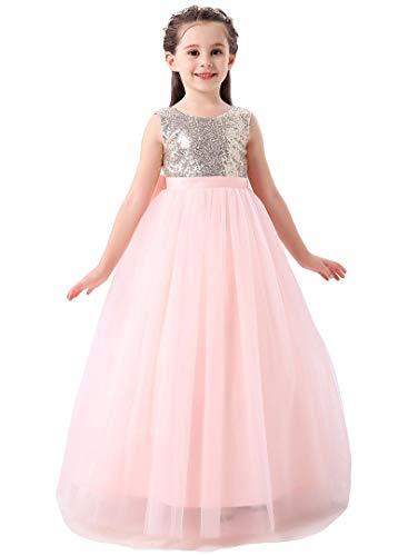 Bow Dream Flower Girl's Dress Sequins Blush Pink 6