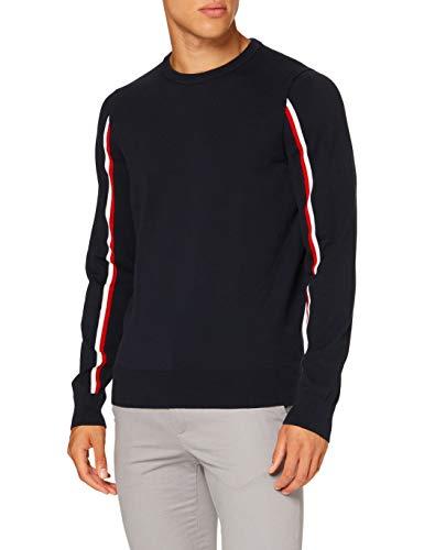 Tommy Hilfiger Herren Global Stripe Intarsia Sweater Pullover, Blue, M