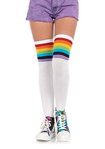 Leg Avenue Costume Accessories's Rainbow Pride Festival Thigh Highs Socks, Multicolor, ONE SIZE