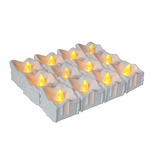 ICECON Flameless LED Tea Light Candles, 12 Pcs Battery Operated Tea Lights Realistic Flickering Bulb for Christmas Decoration Festivals Weddings