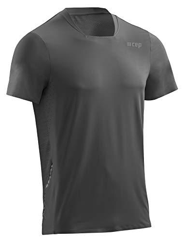 CEP – Run Shirt Short Sleeve für Herren | Atmungsaktives Laufshirt mit Mesh–Einsatz am Rücken in schwarz | Größe L