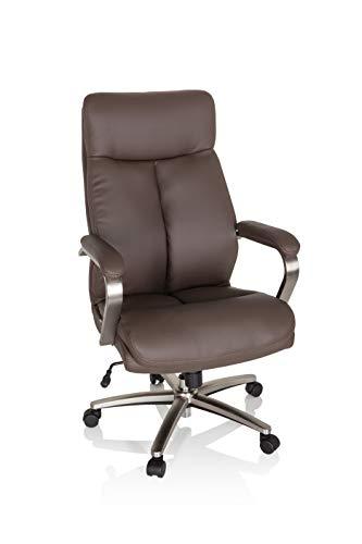 hjh OFFICE 750036 Drehstuhl XXL Grand 100 Kunstleder Braun Chefsessel bis 180kg belastbar, Kopfstütze neigbar, Wippfunktion