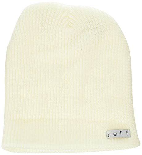 Neff Unisex Daily Beanie, Warm, Slouchy, Soft Headwear, White, One Size
