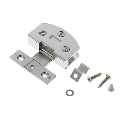 JIEPPTO 1 bisagra de puerta de cristal, fácil de instalar, adecuado para muebles de gabinete de puerta, suministros de hardware (color: plata)