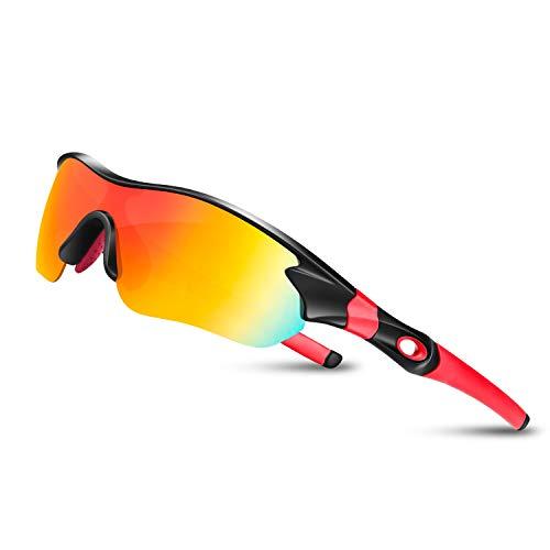 Bea Cool Sportbrille Sonnenbrille Herren, Polarisierte Sport Brille mit UV400 Schutz TAC Sportsonnenbrille PC Rahmen für Radfahren, Laufen, Outdoor-Aktivitäten (Schwarz rot)