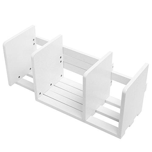 Erweiterbar Holz Desktop Bücherregal/verstellbar Lagerung Organizer Display Regal Rack, weiß