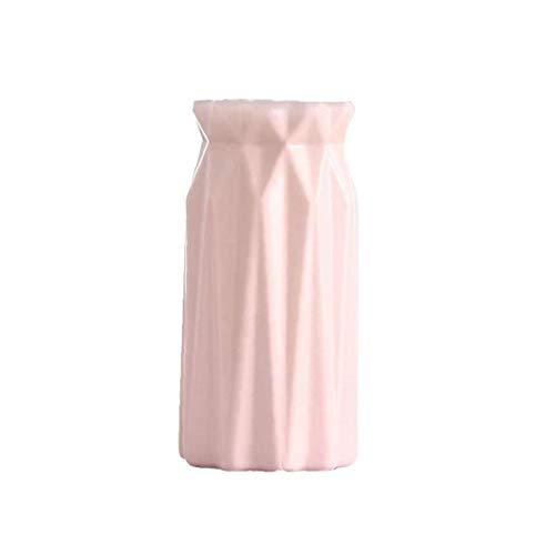 Adore store Estilo Nórdico de imitación de cerámica de Botellas Tiesto Origami florero plástico decoración del hogar (Rosa) Casa y jardín