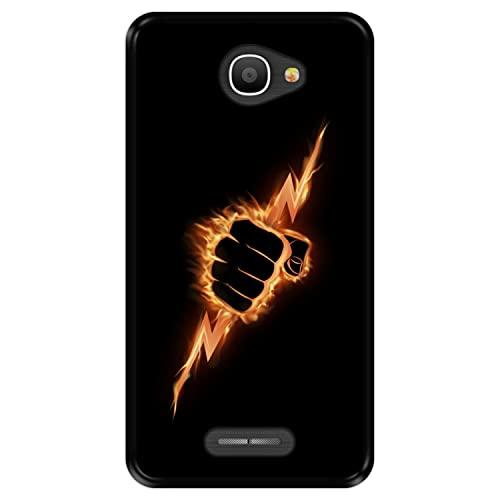 Hapdey Funda Negra para [ Alcatel Pop 4S ] diseño [ Puño ardiente apretando un Rayo ] Carcasa Silicona Flexible TPU
