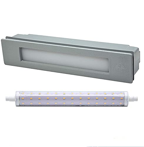 Lámpara de pared LED empotrable para exteriores, IP55, para paredes, caminos, entradas, escaleras, 230 V, 11 W, R7s, luz blanca cálida