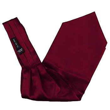 Red Ascot Cravat Tie For Men Satin Solid Formal Cravat Scarf Pocket Square For Business Dan Smith C.C.AQ.C.001 Wine Red