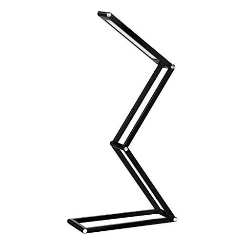Euch Lámpara LED regulable y plegable de bajo consumo, lámpara de escritorio, lámpara de lectura, lámpara de trabajo, lámpara de luz diurna, flexible, portátil y (negro)