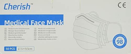 Cherish 50 Masken Typ IIR Mund-Nase-Schutz Mundschutz 3-lagig mit Vlies und Nasenbügel