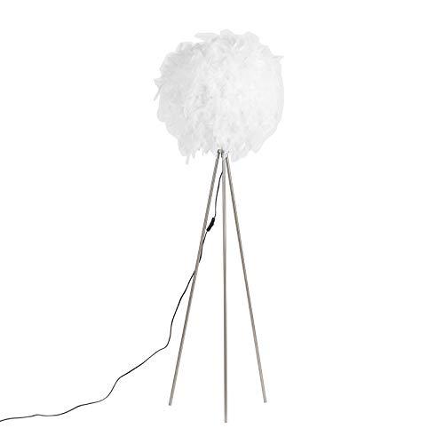 QAZQA - Modern Romantische Stehlampe weiß - Feder | Wohnzimmer | Schlafzimmer - Metall Rund - LED geeignet E27