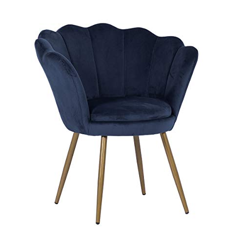 Velvet Armchair Accent Tub Chair Upholstered Occasional Lounge Chair Single Sofa Side Chair Dining Chair Scalloped Dressing Chair with Gold Metal Legs for Bedroom Living Room (Blue - Scalloped)