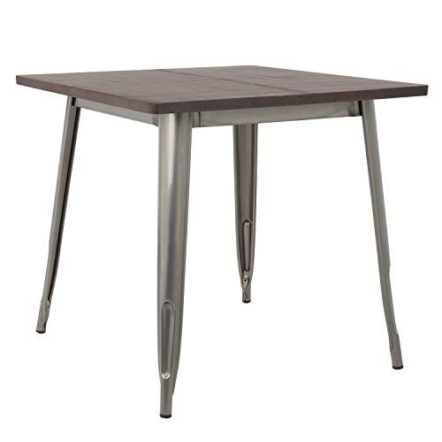 SKLUM Table LIX brossée en Bois (80x80) Acier Bois Foncé - (Plus de Couleurs)
