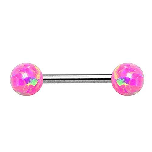 beyoutifulthings Brustwarzen-Piercing 2 Opale Brust-Piercing Nippel-Piercing Chirurgenstahl Silber Pink Stab 1,6mm 14mm