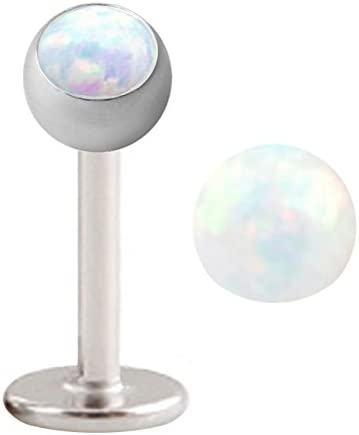 Sparkling synthetic White fire Opal Labret Monroe lip tragus piercing bar body jewelry Ring 16g, 16 gauge