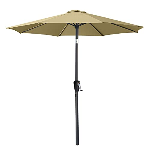 ABCCANOPY 7.5FT Patio Umbrella with Push Button Tilt, 8 Ribs 12+Colors,Khaki