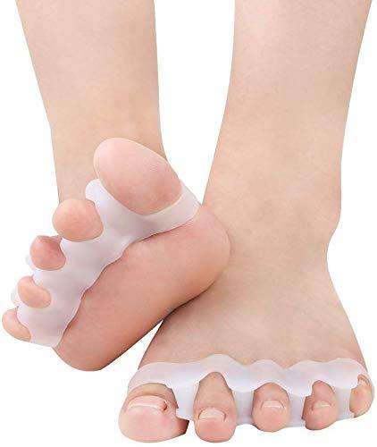 Separadores de gel para los pies 4 piezas Corrector Alisador de dedos Camilla de dedos Correctores de dedo gordo Espaciadores de dedos Alivio del dolor juanetes Adecuado para hombres y mujeres