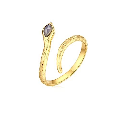 ONCHIC Anillo abierto para mujer, diseño de serpiente, con cristales, chapado en oro, anillo de serpiente ajustable, joya de moda con caja de regalo