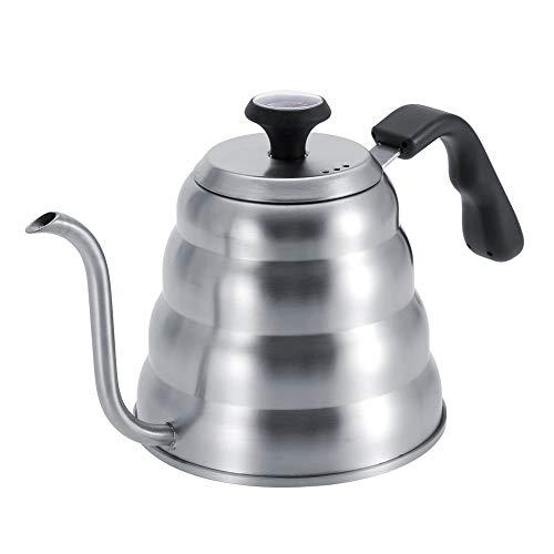 Tetera para cafe, hervidor de agua para te de acero inoxidable duradero Biuzi con cuello de cisne y termometro incorporado(1.2L)