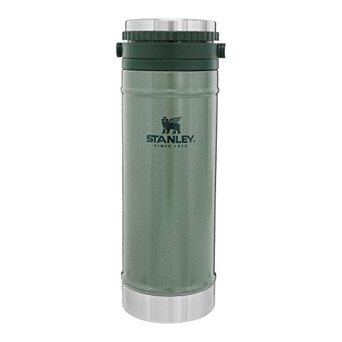 Stanley Classic Travel Press 16oz with Carry Loop, Stainless Steel French Press Coffee Maker, BPA Free Campfire Coffee Pot Heats up Tea or Soup, Great for Camping and Travel, Dishwasher Safe
