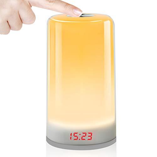 Wake Up Light,Despertador Luz Oxford Street LED Despertador Wake Up Clock Amanecer Simulación,Función Snooze,7 Luces de Colores +Cable USB,5Sonidos Naturales,Apto para niños y adultos. (no recargable)