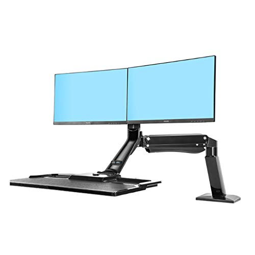22-27-inch Monitor Mount Stand-up Worktable Desktop Monitor Stand Rotating Ophoging Rack Monitor Holder (Color : Black)