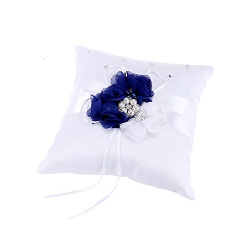 Toyvian Almohada de Anillo de Bodas de Satén con Cojín de Almohada de Anillo de Flores de Perlas para Suministros de Decoración de Banquetes de Boda 20X20 Cm (Azul)