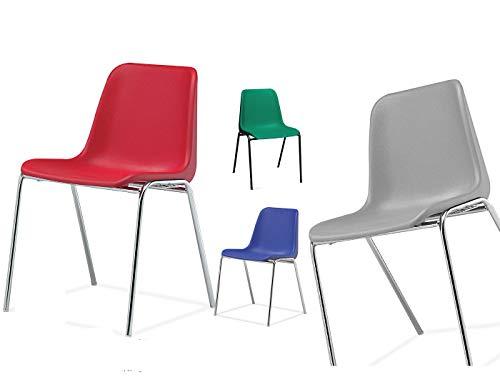 Sedia Da Ufficio Poltrona Fissa per Sala Attesa sedia con monoscocca in plastica colorata con telaio in metallo cromato sedia impilabile sedia per conferenza (blu)