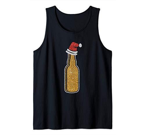 Botella de cerveza con sombrero de santa navidad regalo de Camiseta sin Mangas