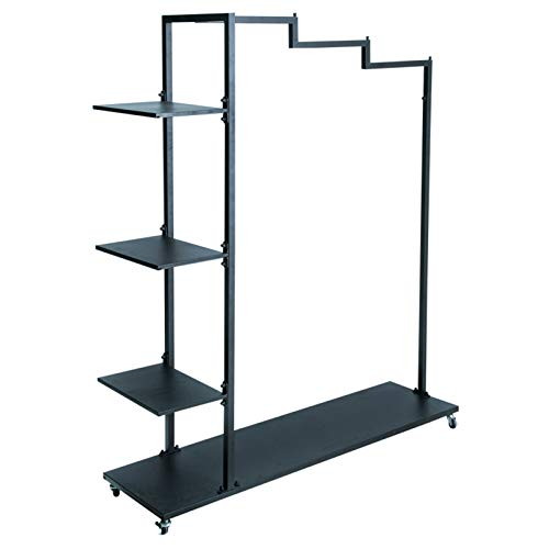 KELUNIS Metal Clothes Garment Racks with 3 Side Storage Shelves and Bottom Shelves Heavy Duty Rolling Garment Rack with Wheel for Boutique