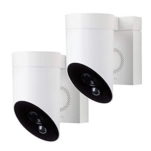 Somfy 1870471 - 2 Outdoor Camera Blanches | Caméras de Surveillance Extérieures | Sirène 110 DB | Branchement Possible sur Un Luminaire Existant