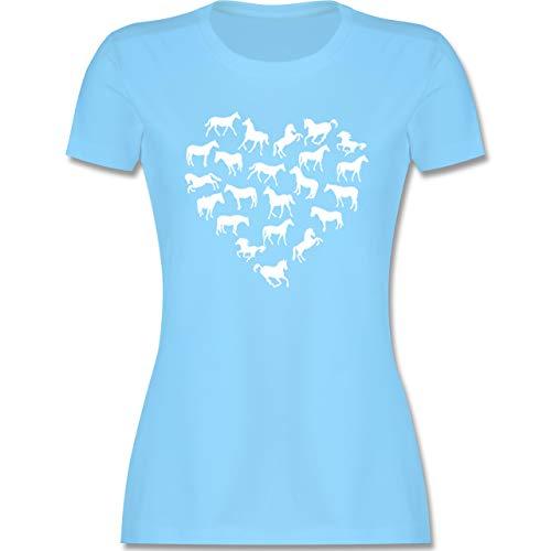 Pferde - Pferdeherz - XL - Hellblau - Damen Tshirt mit Spruch - L191 - Tailliertes Tshirt für Damen und Frauen T-Shirt